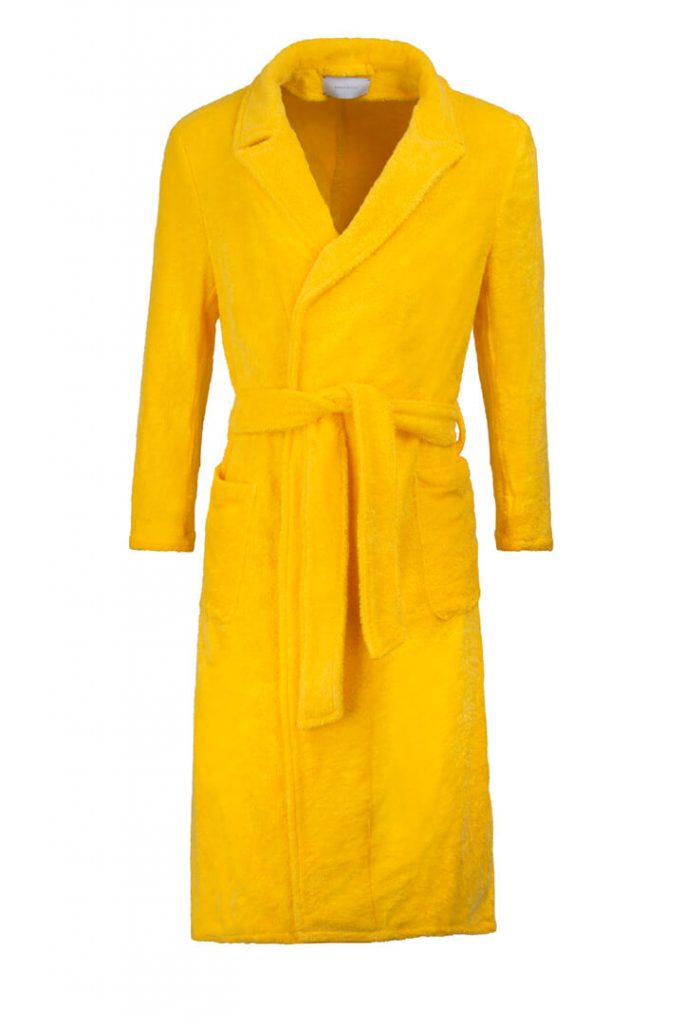 yellow cotton towelling dressing gown front